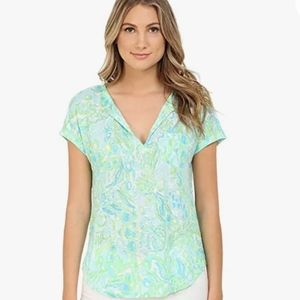 Lily Pulitzer Duval multi patterened linen top